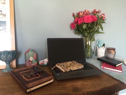 Author Lorraine Ambers writing desk