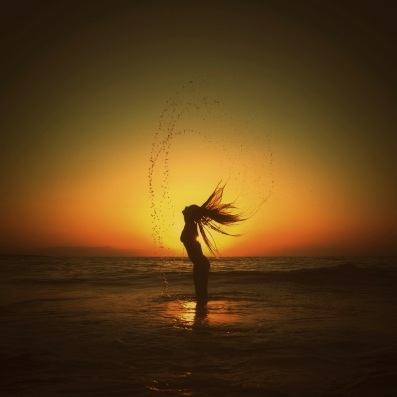 water mermaid sunset beach