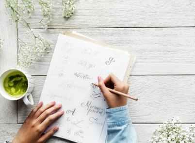 Love writing, notebook, pencil, tea